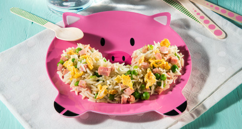 CANTONESE RICE WITH COOKED HAM CUBES