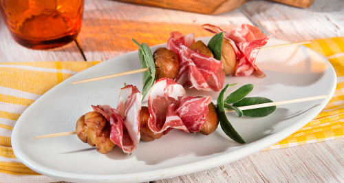 COPPA HAM AND CHESTNUT SKEWERS